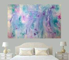HUGE 1770x1220 Pastel Pink Blue Purple Teal  Modern Abstract Canvas Painting Art