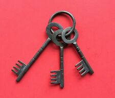 Vintage Antique Large Brass Skeleton Keys Jail Prison Castle 4 & 5 Inch Long
