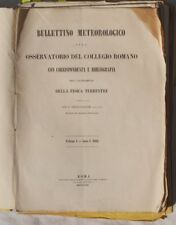 BOLLETTINO METEOROLOGICO 1862 ASTRONOMIA METEO VULCANI