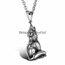 Cool Black Silver Tone Wolf Pendant Men's Stainless Steel Necklace W/Chain 22""