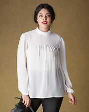 Simply Be Womens High Neck Victoriana Sheer Blouse Top 18 BNWT RRP £38.50 Ivory