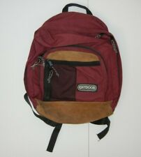 Vtg 90s OUTDOOR PRODUCTS Maroon Red/Brown Leather HIKING BACKPACK Camping Bag
