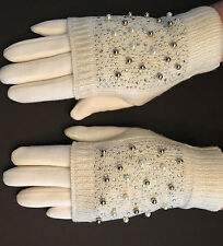 Luxury Rhinestone and Pearl Knit Convertible Mitten Gloves Ivory
