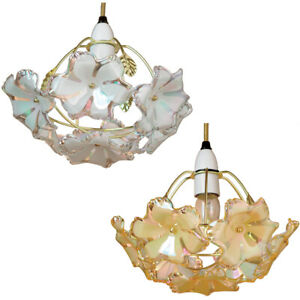 Shade Pendant Ceiling Light Gold Pearl Acrylic Small Non Electrical Up lighter