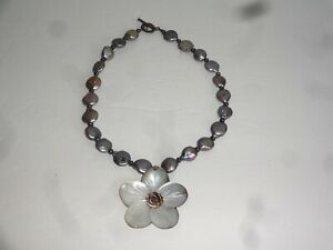 Chunky Abalone Pearl Bead Necklace Flower Pendant Estate Find