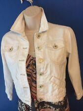 American Eagle AE Womens Denim Jean Tomgirl Destroyed Jacket Coat Sz White
