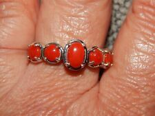 NATURAL MEDITERRANEAN CORAL 5 STONE RING-SIZE S-1.500CTS-WITH PLATINUM