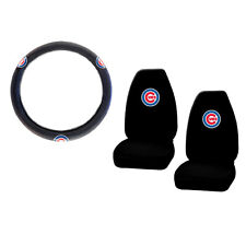 New MLB Chicago Cubs Car Truck Front Seat Covers & Steering Wheel Cover Set
