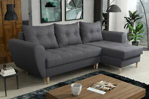 EURO HOMEWARE Corner Sofa Bed ''PALMO'' GREY BROWN YELLOW PINK