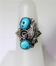 Native American Sterling Double Turquoise Feather & Vine Ring Sz 6.25 - 8088