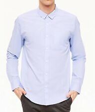 NWT Forever 21 Men's Shirt L Mini Stripe Blue Chest Pocket 100% Cotton Slim Fit