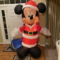 2004 Gemmy Mickey Mouse Christmas Inflatable Over 7 Feet Tall With Stakes