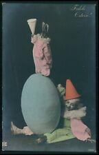 Fantasy dressed rabbit and a gnome original old c1910s photo postcard