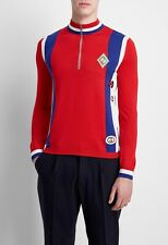 $1160 GUCCI red GG logo appliqued striped wool half zip sweater - Size Large