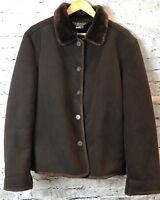 Coaco New York Women's Faux Suede Coat Jacket Size L Dark Brown 100994