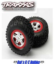 TRAXXAS Assembled Red Beadlock Slayer Tires/Wheels (2)(TRA5973A)