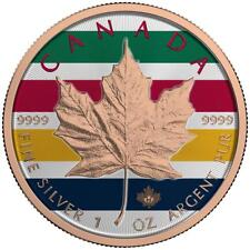 Canada 2017 5$ Maple Leaf 1 oz Colored Stripes Rose Gold Coin