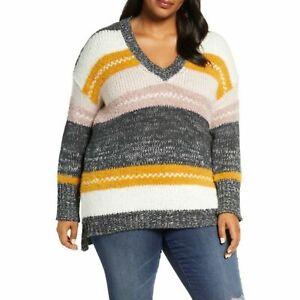 CASLON NWT Women's Plus Size 2X Mixed Stripe V-neck Pullover V-Neck Sweater