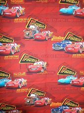 """CARS DISNEY  """" 1ST TO THE FINISH  RED - PIXAR  QUILT FABRIC COTTON Sold BTY"""