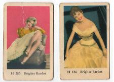 2 x 1960s Swedish Film Star Cards Star French Sex Symbol Brigitte Bardot HSeries