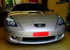 FARI TOYOYA CELICA T23 DAYLINE LED DIURNI+ANGEL EYES LED CROMO/NERI 2000 AL 2005