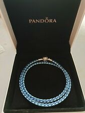 Genuine S925 Ale Double Mixed Blue Leather Pandora Moments Bracelet 19cm 38CM