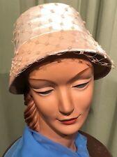 664546709cb Chic Vintage 50 s 60 s Ivory Velour Bucket Hat with Satin Trim 21.5