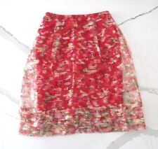 NEW Wolven Anthropologie Red Sheer Floral Metallic Layered Catharina Skirt 6