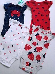 NWT Child Mine,Carters BODYSUIT 4p Set Crab/Cherries/Strawberry Red/White/Blue
