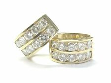 Fine 14Kt Round Cut NATURAL Diamond Huggie Earrings 3.24Ct E-VVS2