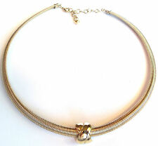 CLASSY GOLD PLATED SNAKE CHAIN  CHOKER NECKLACE VINTAGE X DESIGN PENDANT VINTAGE