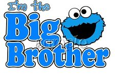 IRON ON TRANSFER I'M the BIG BROTHER COOKIE MONSTER 16x10cm