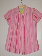 Women's IZOD S/S Pink Striped Button Down Shirt Blouse Size S/P EUC NICE TOP !!!