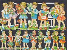 CHILDREN FLORAL BASKETS SUMMER COUPLES PAPER GERMANY EMBOSSED SCRAP EF COLLAGE