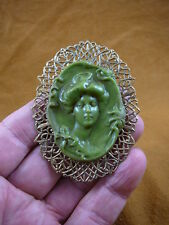 (CL66-6) Woman Gibson bow daisy olive green CAMEO Pin Pendant Jewelry brooch