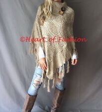Boho Mock Neck Sequin Button Fringe Detail Knit Poncho Fall Tunic Top Sweater