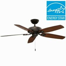 Ceiling Fan 52 in. Powerful Quiet Indoor Pull Chain Reverse Airflow Brown Wooden