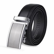 Vbiger Men Automatic Buckle Belts Black Leather Waist Strap Business Waistband