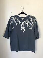 =ARTISTIC= DRIES VAN NOTEN Muted Blue Hand-Painted Silver Floral Print Sweater S