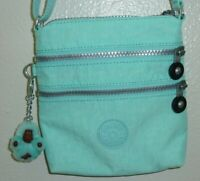 Kipling Crossbody Bag Purse Handbag Blue Nylon With Monkey Small Cross Body
