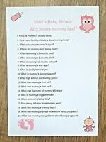 Baby Shower Games Who Knows Mummy Best Personalised 16 pack - Girl /Boy /Unisex