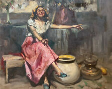 RICHARD DURANDO TOGO (1910) SIGNED LARGE OIL - CHEERFUL COUNTRY GIRL IN SUNSHINE