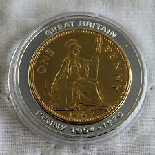 GOLD PLATED 1967 PENNY INLAY ON A 40mm 2005 BRITANNIA PROOF MEDAL - coa