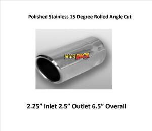 """Brand New Polished Stainless Exhaust Tip 2.25"""" IN 2.5"""" Out 6.5"""" Overall"""