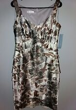 New $115 London Times Size 8 Grey Ivory Ruffled Tiered Formal Dress V-Neck