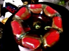 VINTAGE VALLAURIS ? UNUSUAL GOURD SHAPED RED BROWN GREEN LAVA DRIP GLAZED DISH