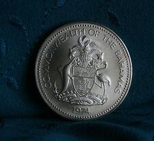 1974 Bahamas 5 Dollars World Coin National Flag Elizabeth Blue Marlin Flamingo