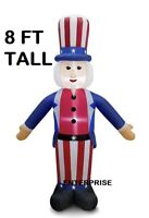 8' FT UNCLE SAM PATRIOTIC LIGHTED AIRBLOWN INFLATABLE 4TH OF JULY YARD DECOR