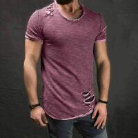 Mens Summer Tee Short Sleeve Muscle T-shirt Casual Hole Shirts Tops Fashion