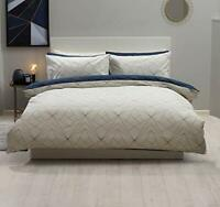 Striking Design Duvet Cover Set in Navy Blue & Ivory King Bed Size Reversible
